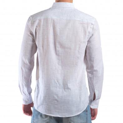 Мъжка бяла риза с малки разноцветни детайли il210616-28 3