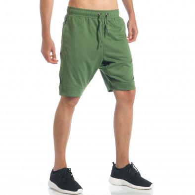 Мъжки зелени шорти с декоративен цип it190417-17 5