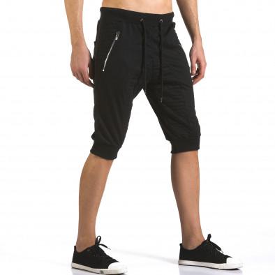 Мъжки черни къси потури с ципове на джобовете it110316-86 4