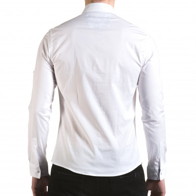 Мъжка бяла риза с лого на гърдите il170216-105 3