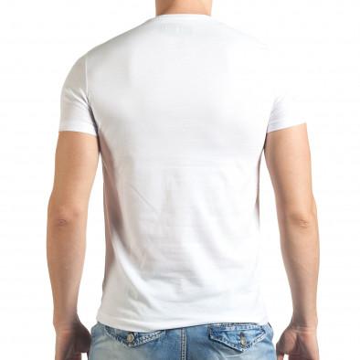 Мъжка бяла тениска с яка щампа отпред il140416-40 3