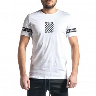 Мъжка бяла тениска White Black tr010221-9 2
