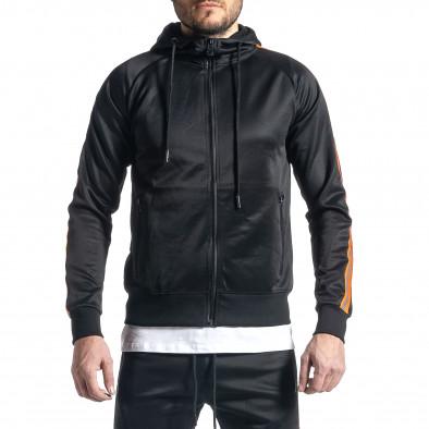 Мъжки черен анцуг с кантове оранжев неон it010221-48 4