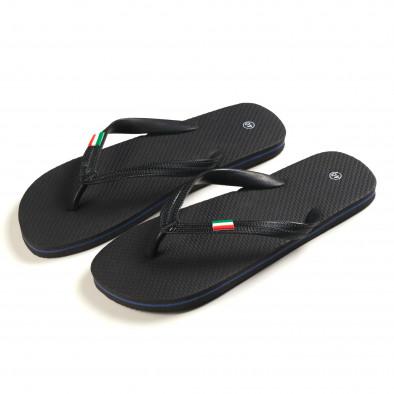Мъжки черни джапанки с Италианското знаме it150616-5 2