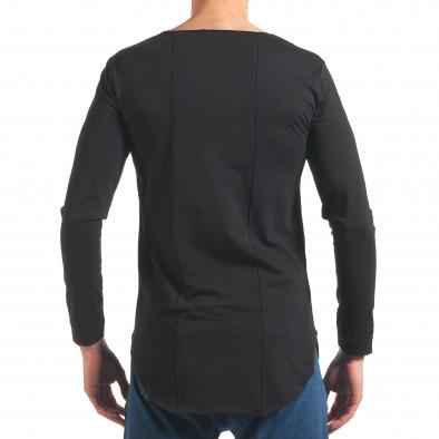 Мъжка черна блуза с дълъг ръкав и метални капси it250416-78 3