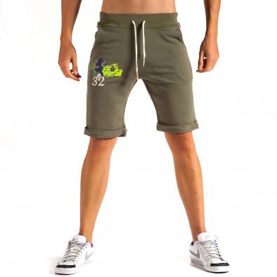 Мъжки зелени шорти с флорална декорация it200614-20 3