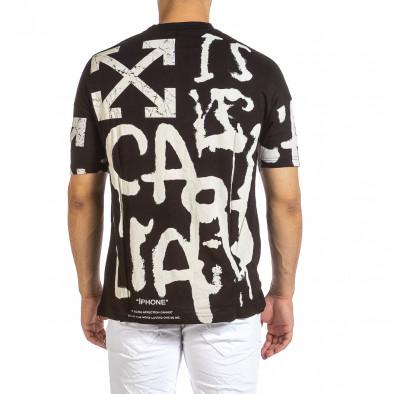 Oversize черна тениска с колоритен принт it240621-14 3