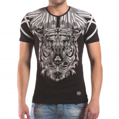 Мъжка черна тениска с тигър от камъни il210616-18 2