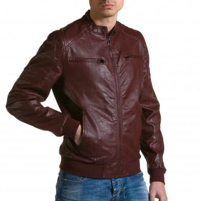 Мъжко червено кожено яке с джобове на гърдите ca190116-35 4