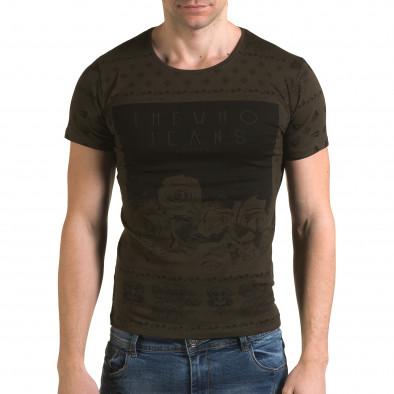 Мъжка зелена тениска с флорални мотиви и надпис il120216-54 2