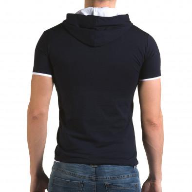 Мъжка синя тениска с качулка il120216-59 3