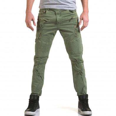 Мъжки зелен панталон с хоризонтални шевове it090216-7 2
