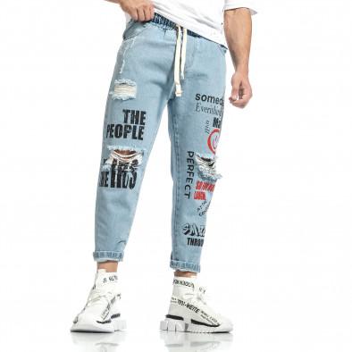 Relaxed fit мъжки сини дънки с принт it150521-41 3