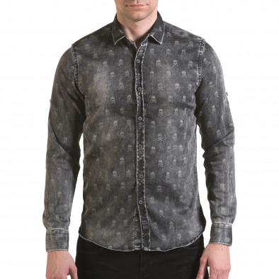 Мъжка риза сив деним с черепи il170216-130 2
