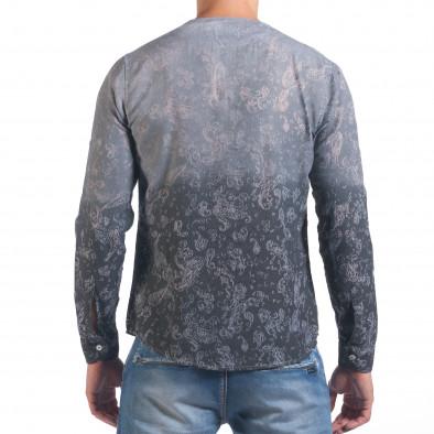 Мъжка сива риза с преливащо оцветяване и фигурална шарка il060616-115 3