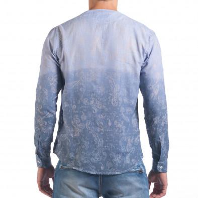 Мъжка синя риза с преливащо оцветяване и фигурална шарка il060616-114 3