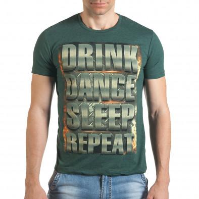 Зелена тениска с щампован голям надпис il140416-46 2