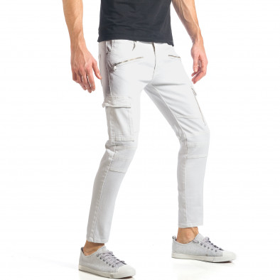 Мъжки бели дънки с карго джобове it290118-19 4