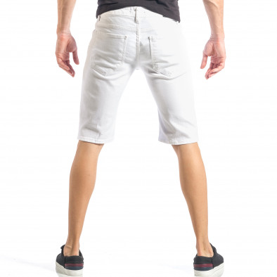 Бели мъжки къси дънки с черни пръски и кръпки it040518-79 4