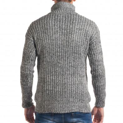 Мъжки сиво-бял зимен пуловер с поло яка it170816-24 3