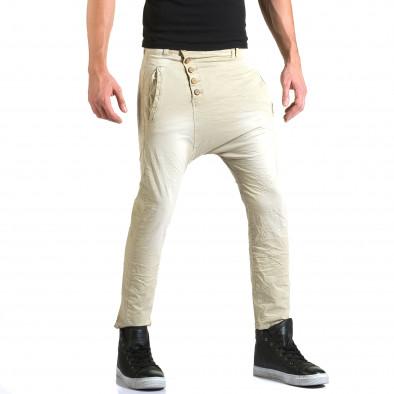 Мъжки бежов панталон със смъкнато дъно и копчета it211015-15 4