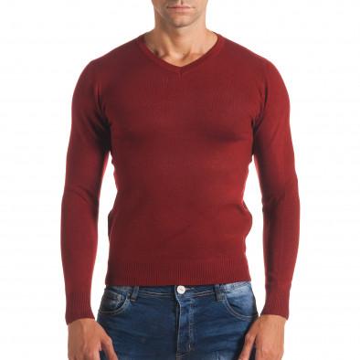 Мъжки червен изчистен пуловер с остро деколте it170816-49 2