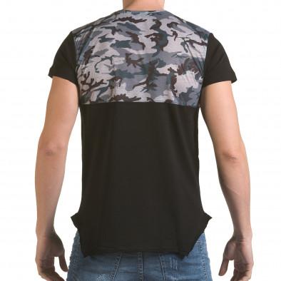 Мъжка черна тениска с камуфлаж на раменете il170216-52 3