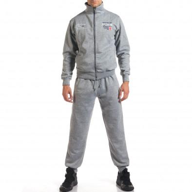Мъжки светло сив спортен комплект с надписи it160916-72 2