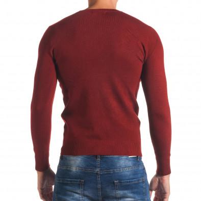 Мъжки червен изчистен пуловер с обло деколте it170816-44 3