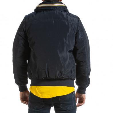 Мъжко синьо яке с прибираща се качулка it070921-29 3