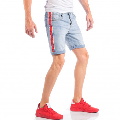 Мъжки къси дънки от избелен деним с кантове it050618-24 4