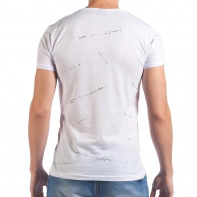 Мъжка бяла тениска със сив принт отпред il060616-82 3