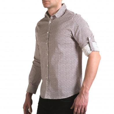 Мъжка бяла риза с червена фигурална шарка il170216-99 4