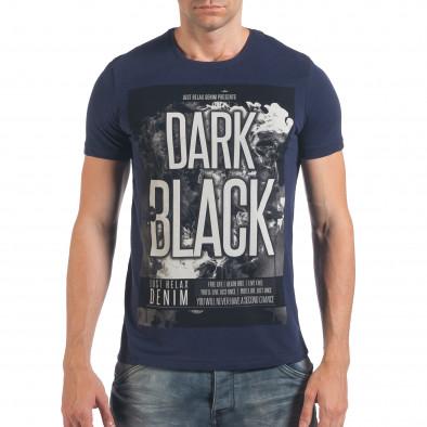 Мъжка синя тениска с надпис Dark Black il060616-3 2