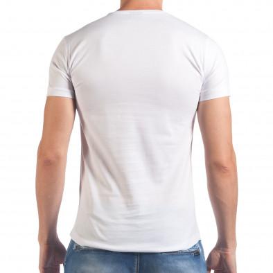 Мъжка бяла тениска с черен череп отпред Eksi 4