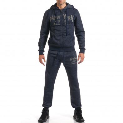 Мъжки син спортен комплект с надпис New York it210916-1 2