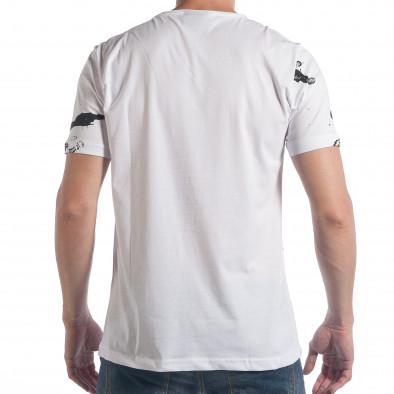 Мъжка бяла тениска с черен принт tsf090617-49 3