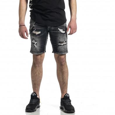 Destroyed черни къси дънки с аксесоар gr270221-10 3