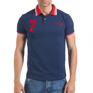 Мъжка тъмно синя тениска с яка с червен номер 7 Franklin 4
