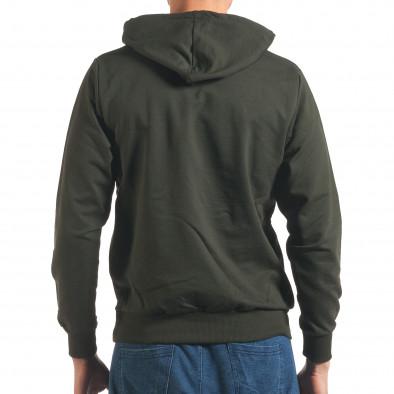 Мъжки тъмно зелен суичър с качулка it250416-86 3