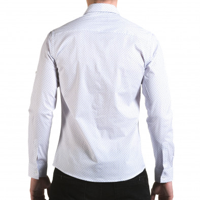 Мъжка бяла риза с малки сини детайли il170216-117 3