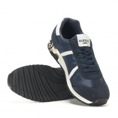 Мъжки сини маратонки с принт по подметките it291117-37 4