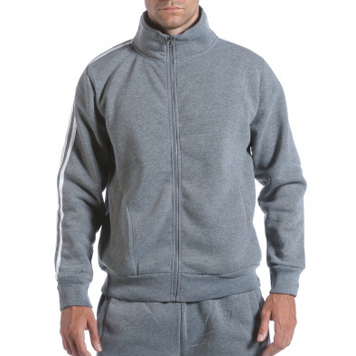 Мъжки светло сив спортен комплект с бели ленти it160817-72 4