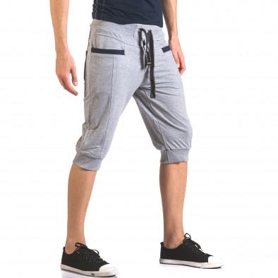 Мъжки сиви къси потури с контрастни джобове ca050416-34 4