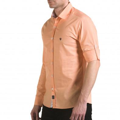 Мъжка оранжева риза на много фини квадратчета il170216-108 4