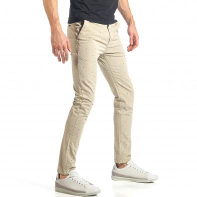 Мъжки панталон в цвят каки с малки детайли по плата it290118-36 4