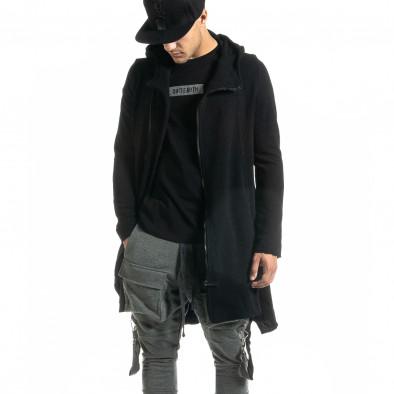 Удължен мъжки черен суичър Hip Hop стил tr020920-28 2