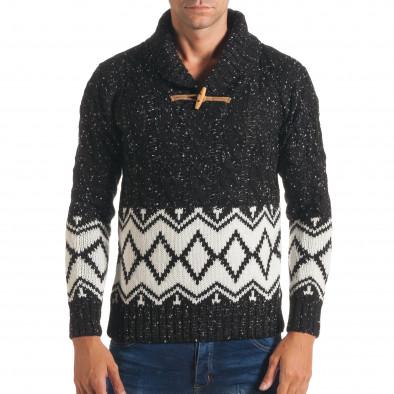 Мъжки черен зимен пуловер с бели фигури it170816-55 2