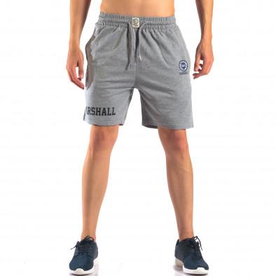 Мъжки сиви шорти с емблема it160616-4 2