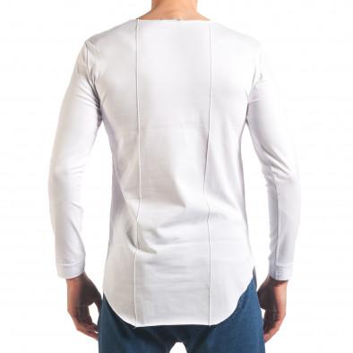 Мъжка бяла блуза с дълъг ръкав и метални капси Black Fox 4